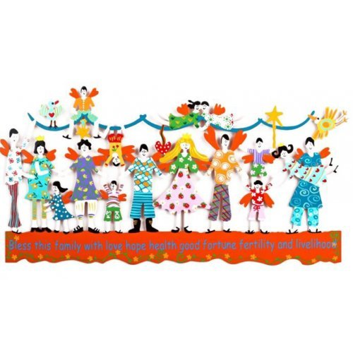 Tzuki Art Hand Painted Wall Sculpture with Bless this Family in English - Orange