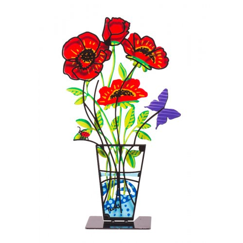 Tzuki Art Sculpture Hand Painted Anemones in Vase on Base - Red