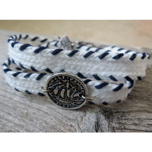 White Cord Bracelet for Men with Coin Element
