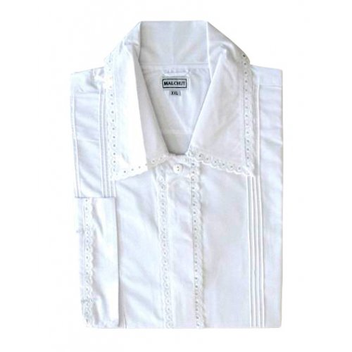 White Cotton Polyester Kittel Robe - Lace Finish