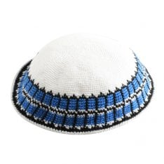 White DMC Knitted Kippah with Blue and Black Border Design