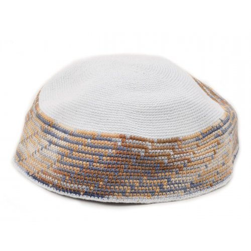 White DMC Knitted Kippah with Gray and Light Blue Border Design