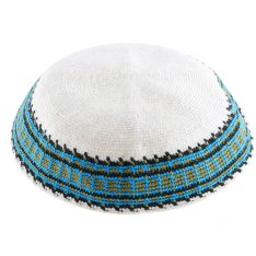 White DMC Knitted Kippah with Olive, Turquoise and Black Border Design