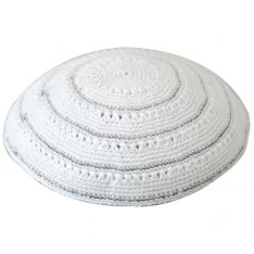 White DMC Knitted Kippah with Silver Stripes