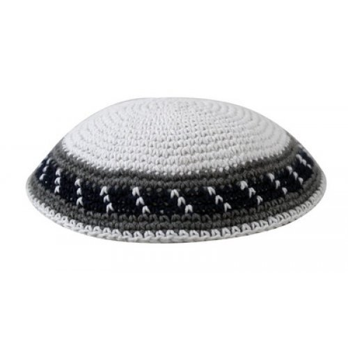 White Knitted Cotton Kippah with Gray Stripes Border Design