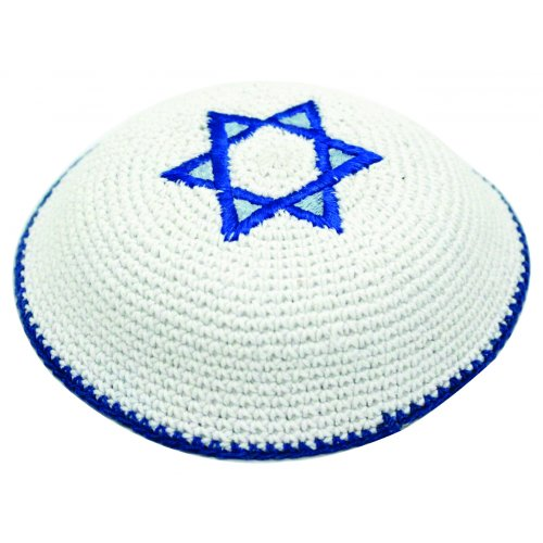 White Knitted Kippah with Blue Star of David