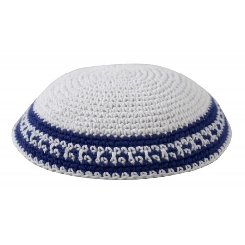 White Knitted Kippah with Blue and White Border