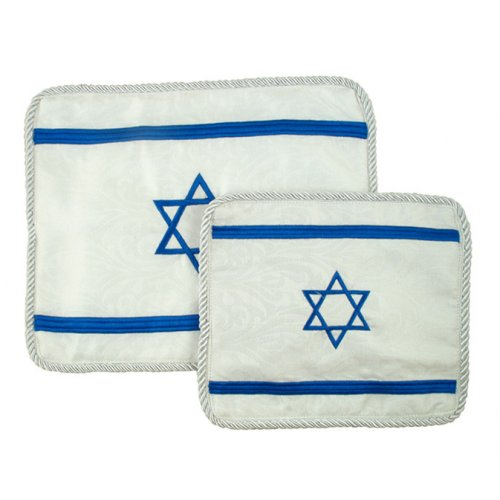 White Tallit and Tefillin Bag Set - Israeli Flag design