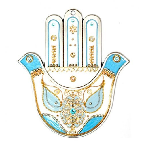 White and Blue Dove Hamsa by Ester Shahaf