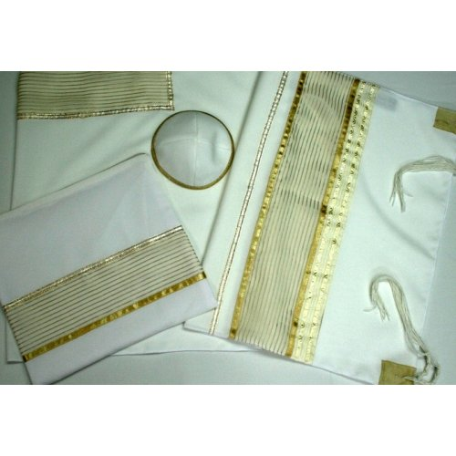 White and Gold Tallit Set by Ronit Gur