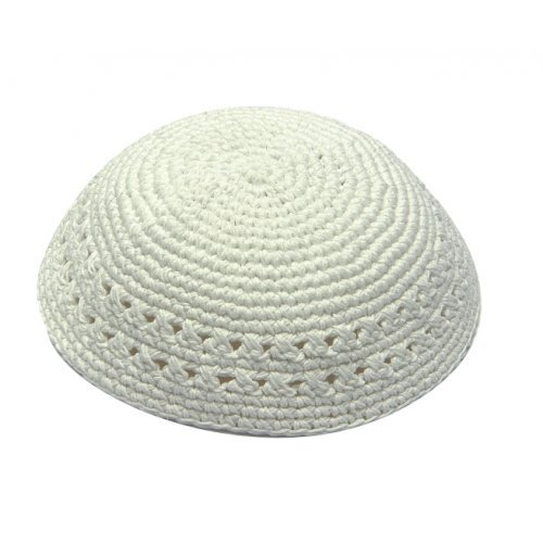 White knitted Kippah with holes
