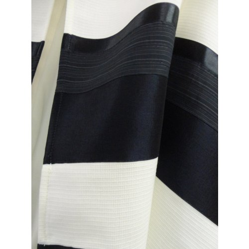 White-Black Wool Tallit Set by Galilee Silks