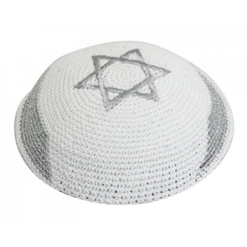 White-Silver Knitted Kippah with Silver Star of David