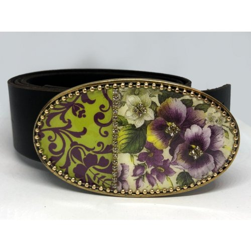 Woman's Belt with Purple Flower Design Buckle by Iris Design