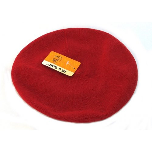 Womens Classic Red Cotton Beret