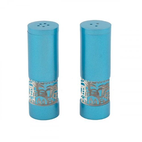 Yair Emanuel Aluminum Salt and Pepper Set with Ornate Jerusalem Band - Turquoise