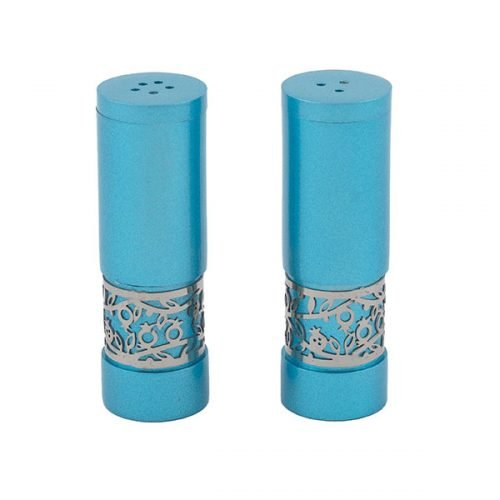 Yair Emanuel Aluminum Salt and Pepper Set with Pomegranate Band - Turquoise