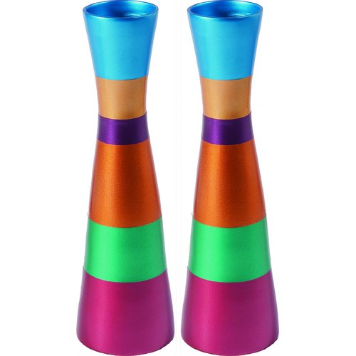 Yair Emanuel Anodized Aluminum Slender Shabbat Candlesticks - Colored Bands