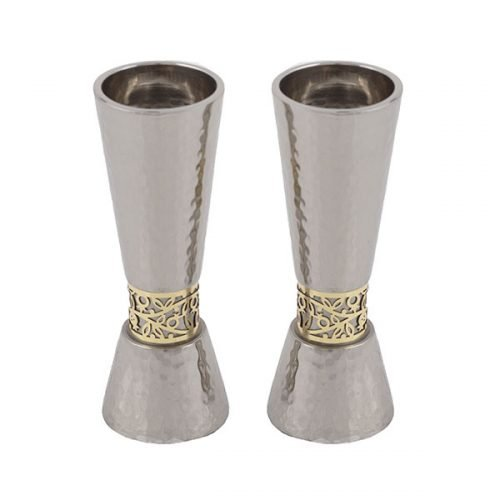 Yair Emanuel Cone Candlesticks with Gold Pomegranate Band - Hammered Silver