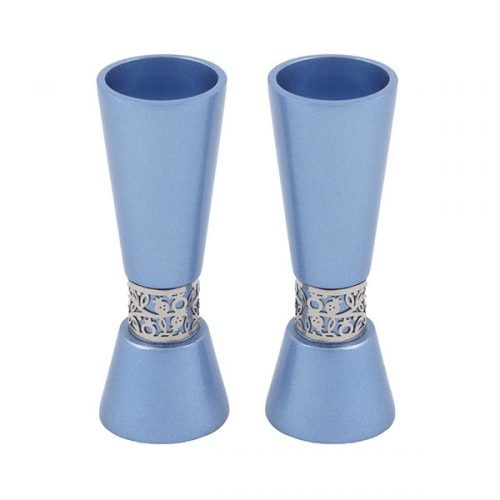 Yair Emanuel Cone Shaped Candlesticks with Silver Pomegranate Band - Blue