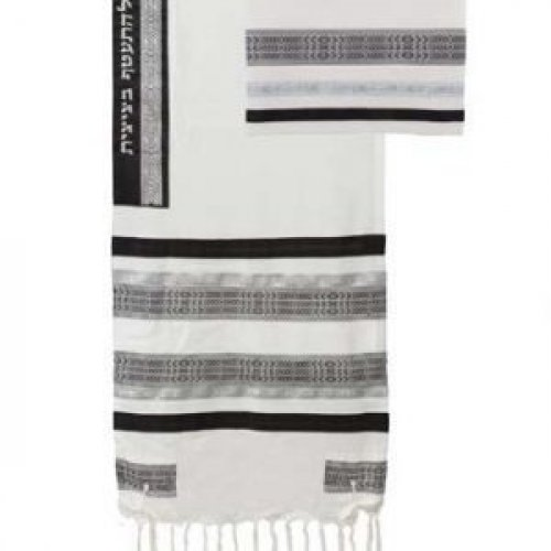 Yair Emanuel Cotton Tallit Set with Appliques - Black and White Stripes