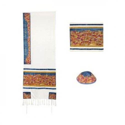 Yair Emanuel Embroidered Cotton Tallit Set - Jerusalem in Gold and Red