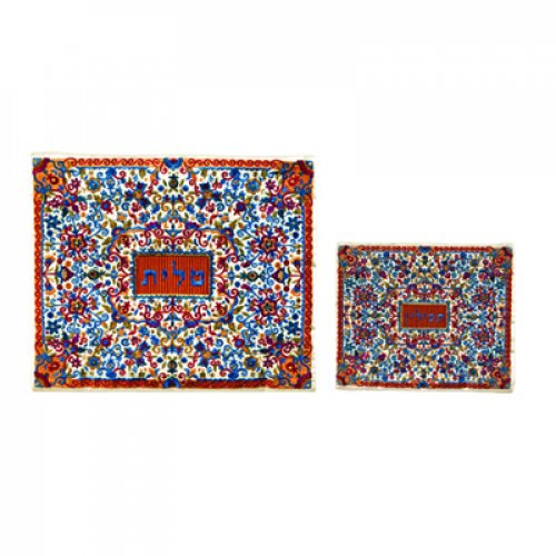 Yair Emanuel Embroidered Red and Blue Tallit and Tefillin Bag Set - Flowers