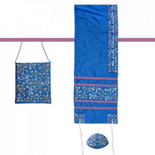 Yair Emanuel Embroidered Royal Blue Polysilk TalliSack Tallit Set - Flowers