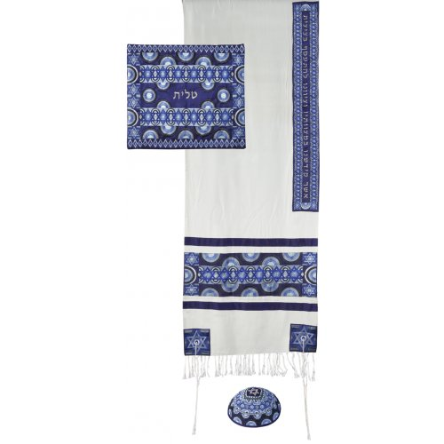 Yair Emanuel Embroidered Silk and Cotton Tallit Set, Stars of David - Blue