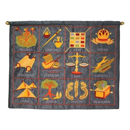 Yair Emanuel English Embroidered Blue Wall Hanging - 12 Tribes