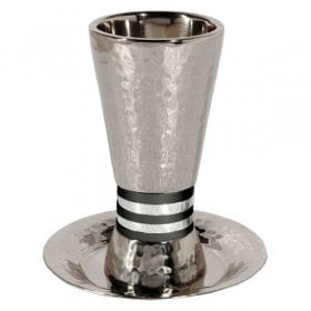938b922edc3 Yair Emanuel Hammered Nickel Cone Kiddush Cup Set - Black and Silver Rings