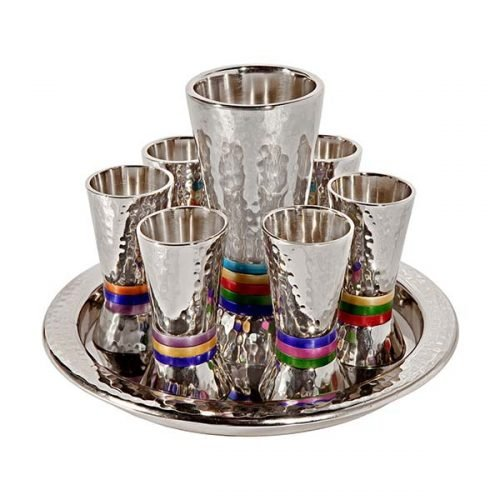 Yair Emanuel Hammered Nickel Kiddush Goblet and 6 Cups with Tray - Multicolor