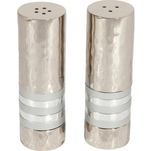 Yair Emanuel Hammered Nickel Salt and Pepper Shakers - Decorative Bands
