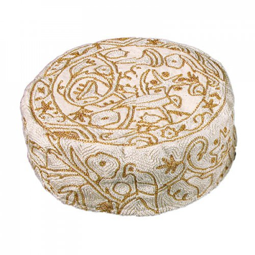 Yair Emanuel Hand Embroidered Gold Bucharian Hat Kippah - Birds & Flowers
