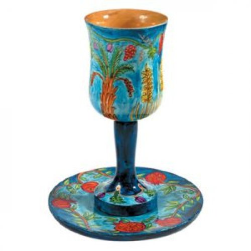 Yair Emanuel Hand Painted Large Wood Kiddush Cup with Coaster - Seven Species