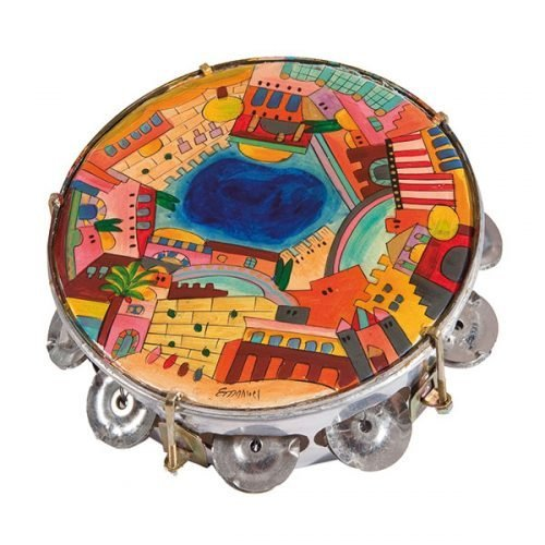 Yair Emanuel Hand Painted Leather Tambourine - Jerusalem Design