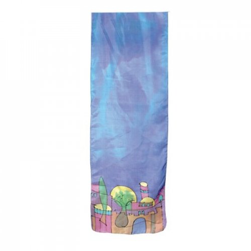 Yair Emanuel Hand Painted Narrow Pure Silk Scarf - Jerusalem on Blue