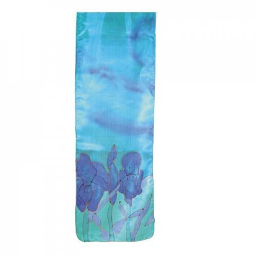 Yair Emanuel Hand Painted Narrow Pure Silk Scarf Turquoise and Blue – Iris