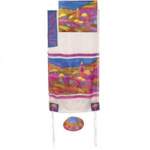 Yair Emanuel Hand Painted Pure Silk Tallit Set - Colorful Jerusalem Views