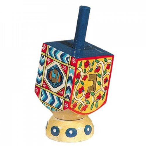 Yair Emanuel Hand Painted Wood Dreidel on Stand - Lively Oriental Design