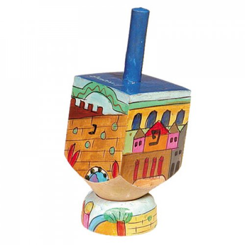 Yair Emanuel Hand Painted Wood Dreidel on Stand Small - Jerusalem Images
