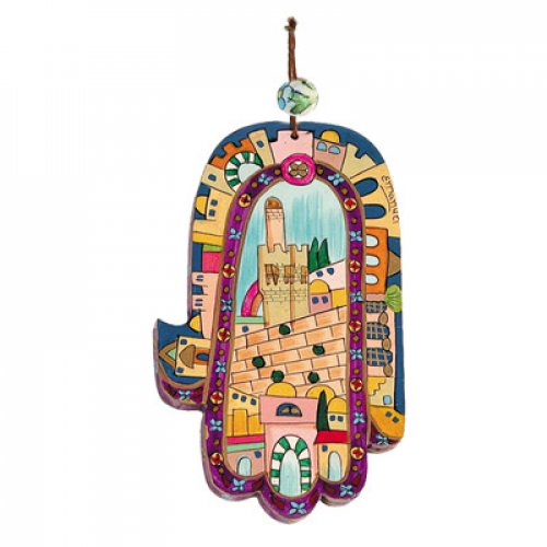 Yair Emanuel Hand Painted Wood Wall Hamsa - Colorful Jerusalem