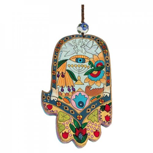 Yair Emanuel Hand Painted Wood Wall Hamsa - Colorful Motifs
