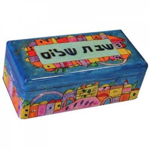 Yair Emanuel Hand-Painted Candlesticks in Wood Box - Jerusalem Shabbat Shalom