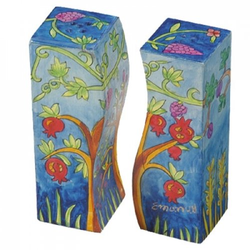 Yair Emanuel Hand-Painted Wood Fitted Salt & Pepper Shaker - Pomegranates