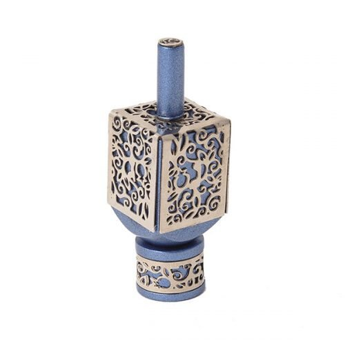 Yair Emanuel Hanukkah Dreidel and Stand, Cutout Pomegranates - Silver on Blue