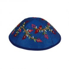 Yair Emanuel Kippah – Embroidered Red Pomegranates on Royal Blue
