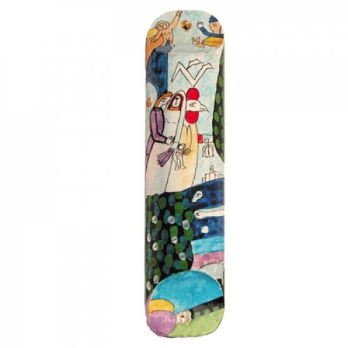 Yair Emanuel Large Hand Painted Wood Mezuzah Case Colorful - Bride and Groom