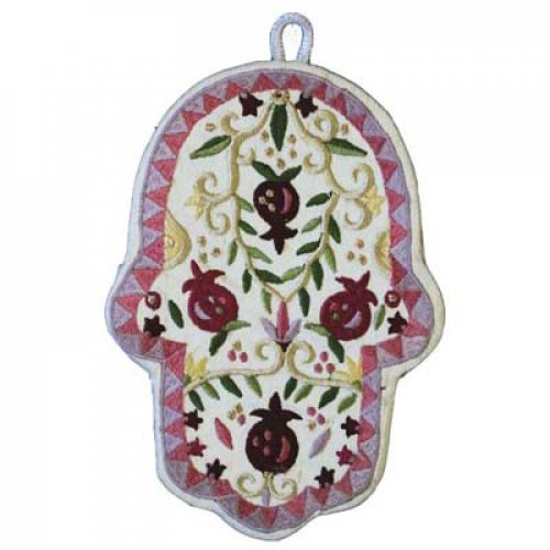 Yair Emanuel Large Hand-embroidered Wall Hamsa - Pomegranates