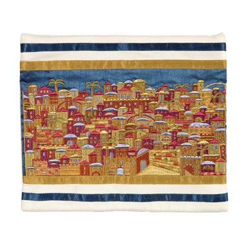 Yair Emanuel Multicolor Embroidered Tallit Bag - Jerusalem